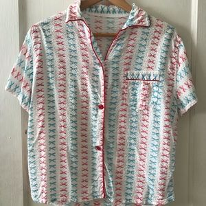 Vintage Pink & Blue Bow Patterned Pajama Top
